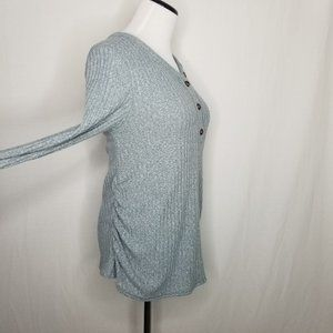 Isabel Maternity by Ingrid & Isabel Tops - Maternity Long Sleeve V-Neck Henley Top Mint Blue